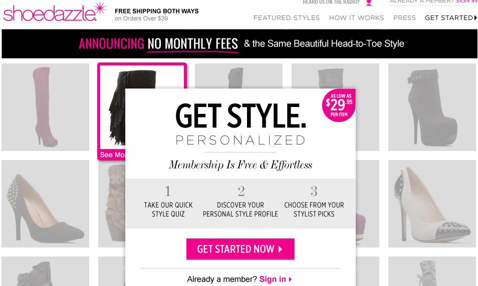 ShoeDazzle Personalization Style Quiz