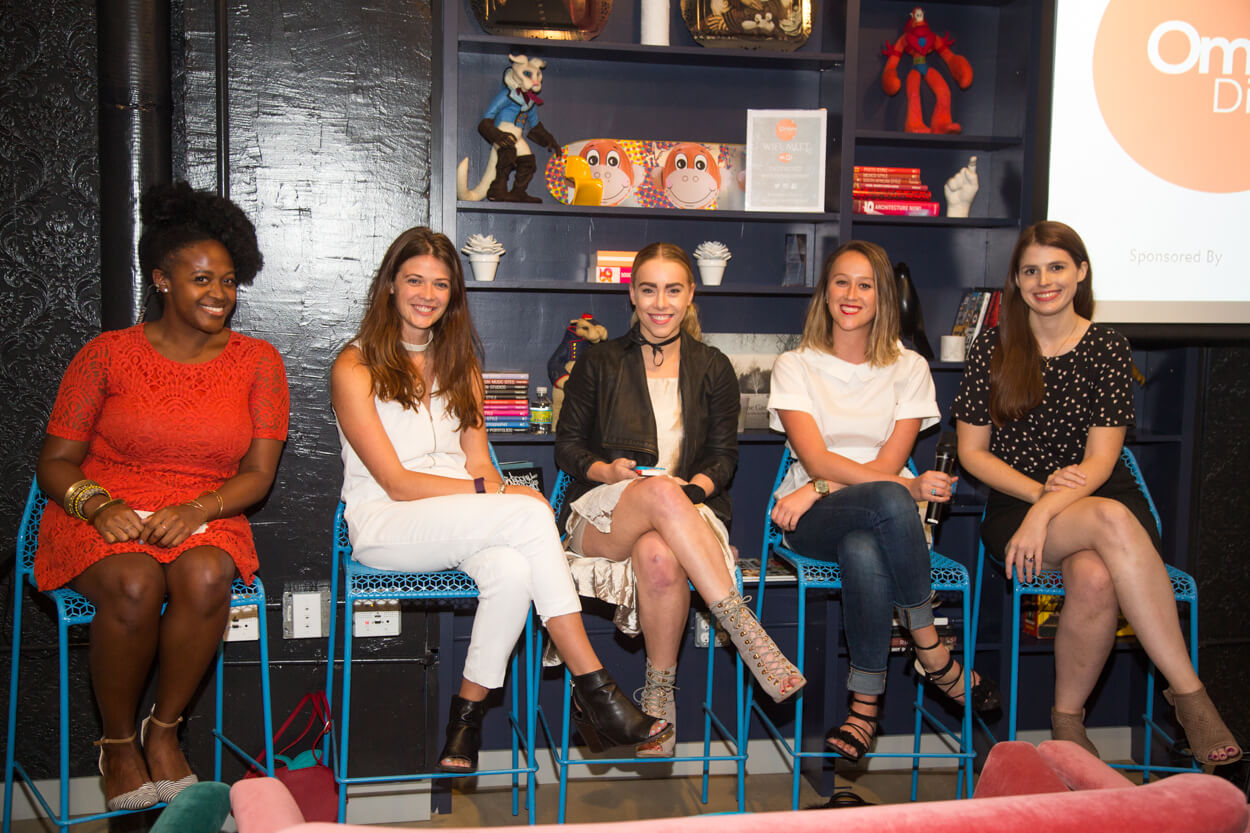 MeLisa Best (far left) moderated the panel, which included (left to right) Courtney Seamon and Kelly McFarland of Mimosas and Manhattan, Rosa Heyman of Marie Claire and Alexandra Carver of Obviously Social.